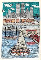 South Street Seaport, NYC - in a naive style
